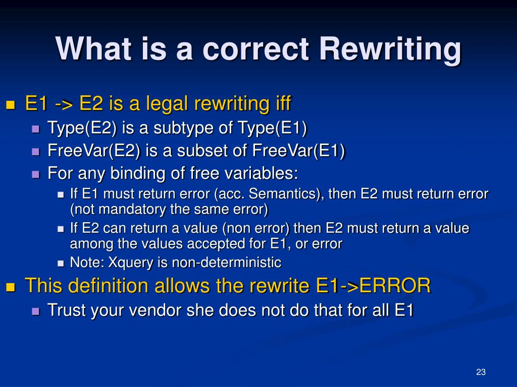 What is a correct Rewriting