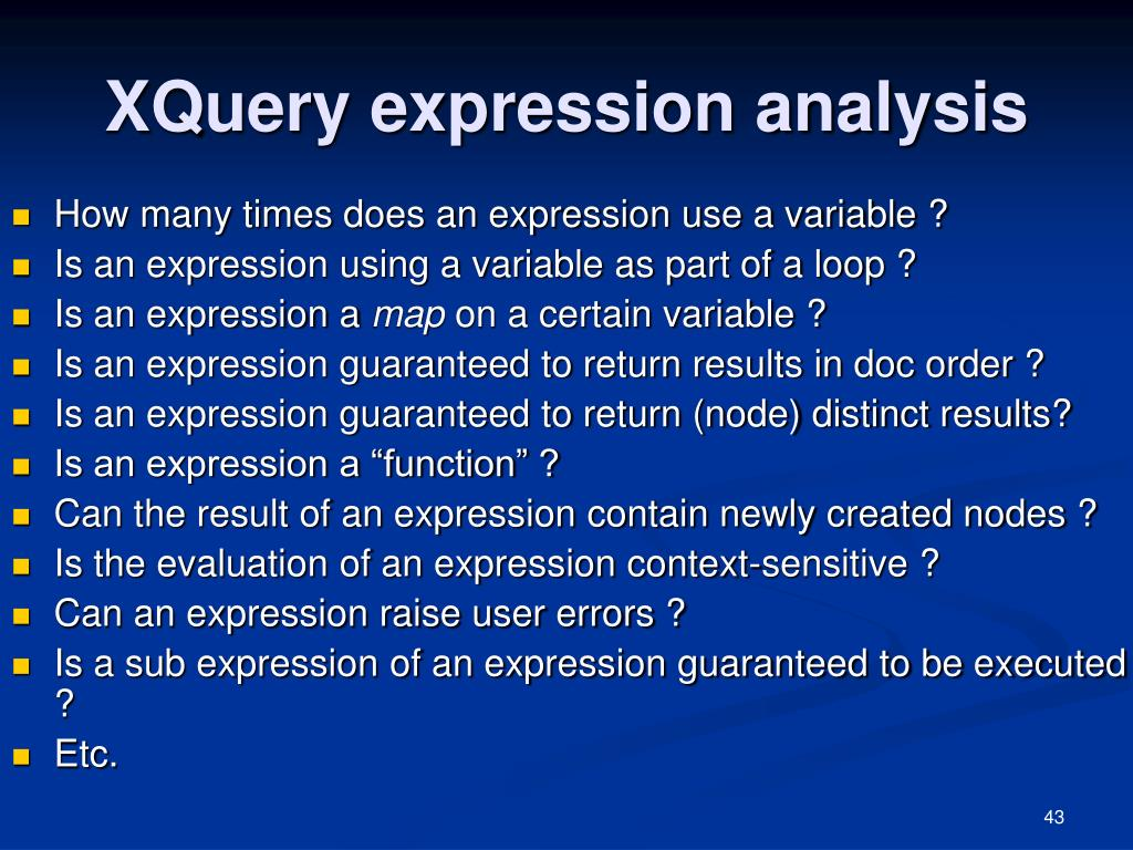 XQuery expression analysis