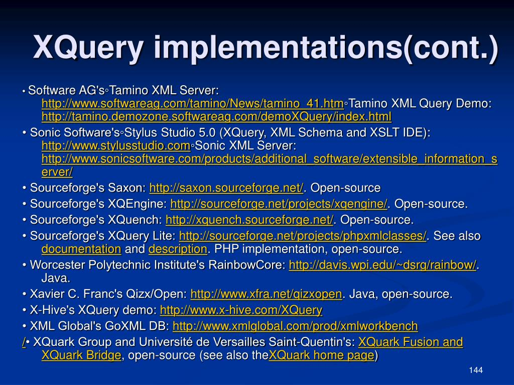 XQuery implementations(cont.)