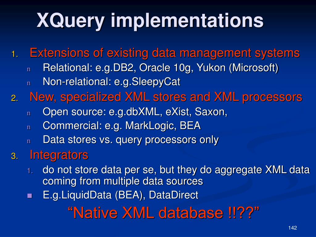 XQuery implementations