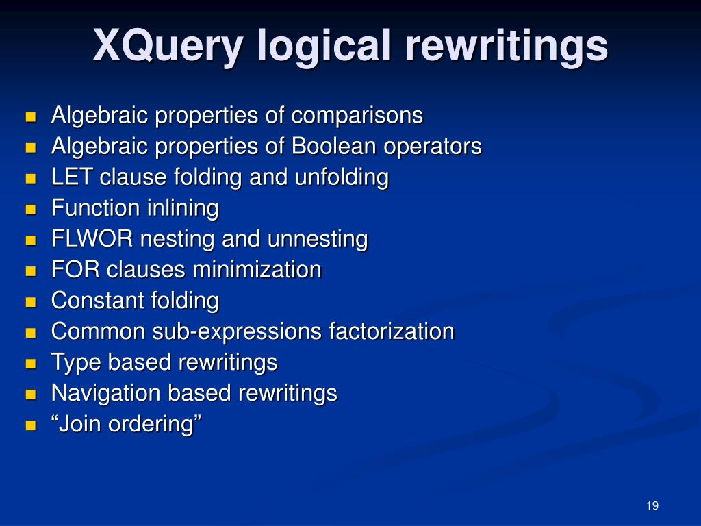 XQuery logical rewritings