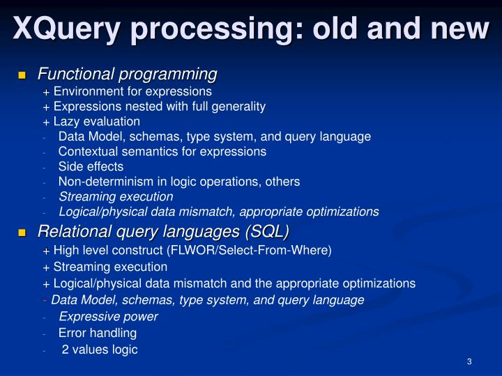 Xquery processing old and new