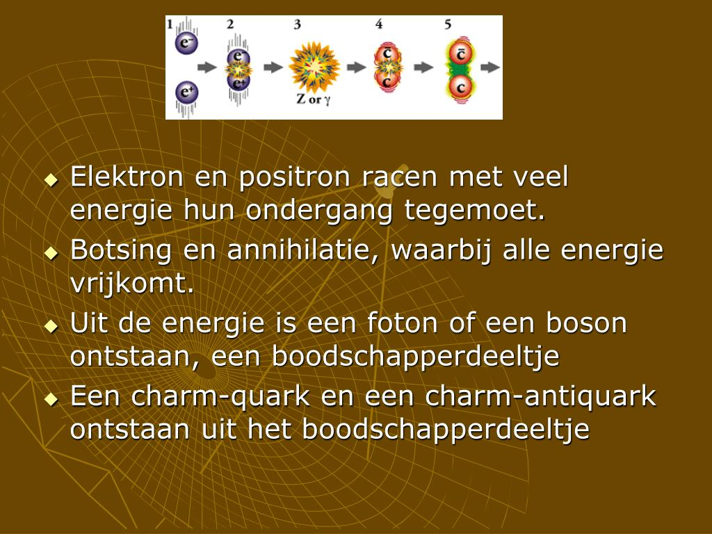 Elektron en positron racen met veel energie hun ondergang tegemoet.