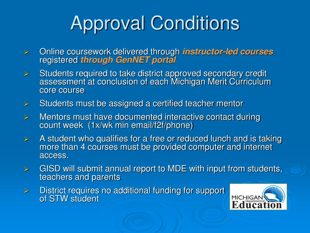 Online coursework delivered through