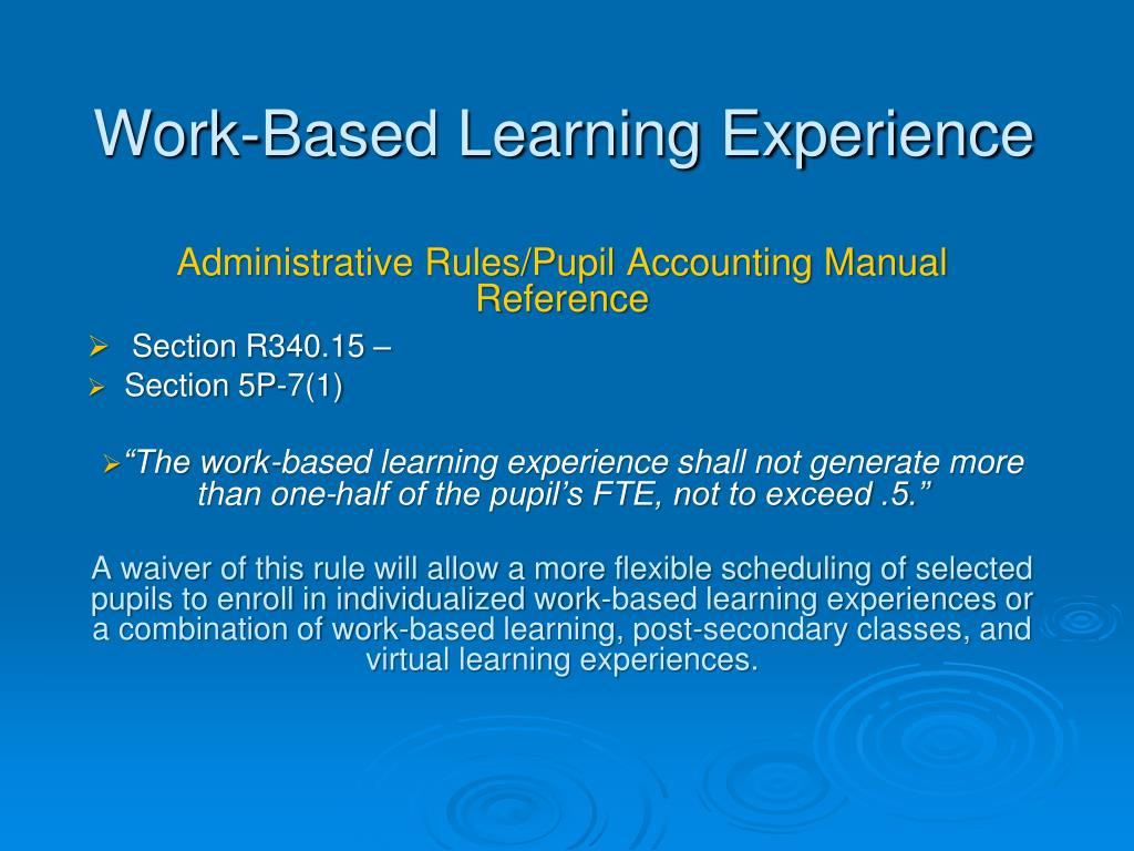 Work-Based Learning Experience