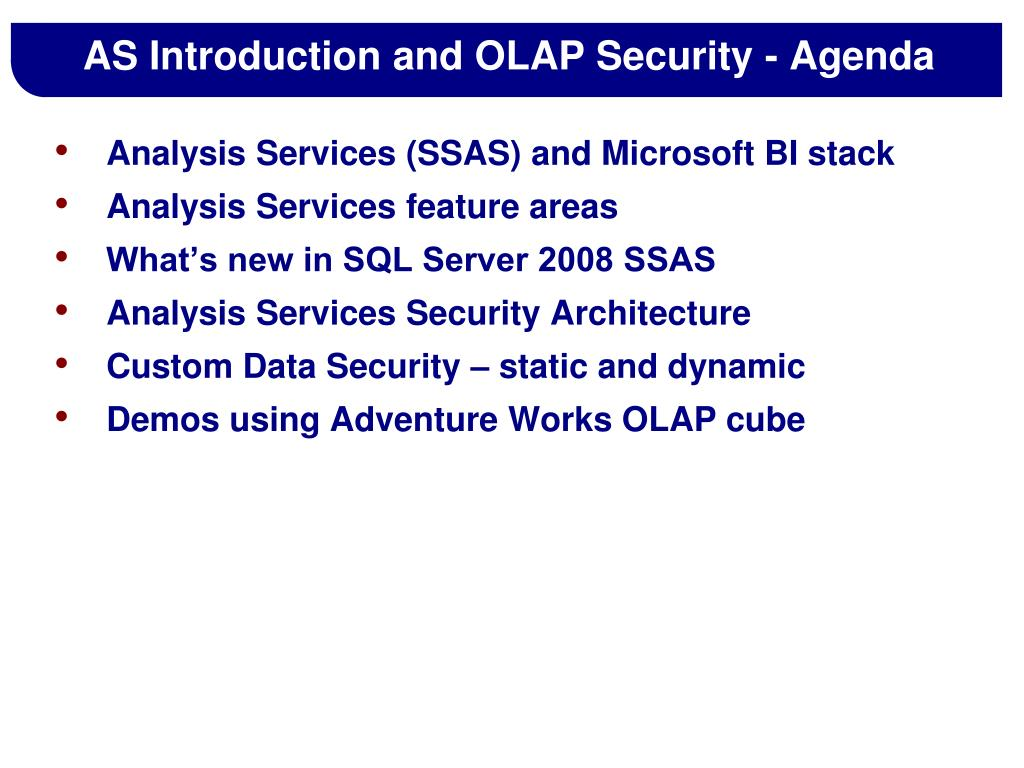 as introduction and olap security agenda l.