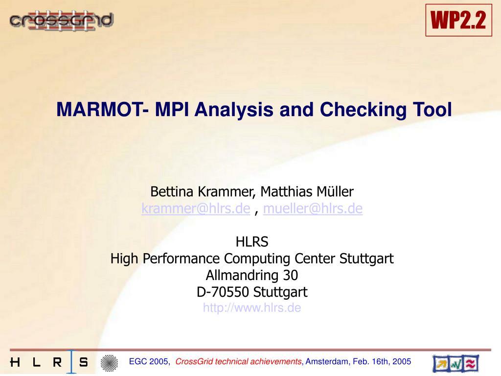 marmot mpi analysis and checking tool l.