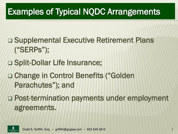 Examples of typical nqdc arrangements
