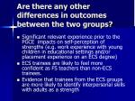 are there any other differences in outcomes between the two groups1