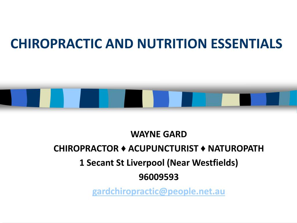 chiropractic and nutrition essentials l.