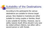 suitability of the destinations