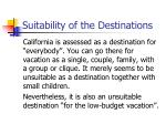 suitability of the destinations34
