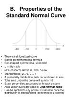 b properties of the standard normal curve