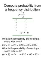 compute probability from a frequency distribution