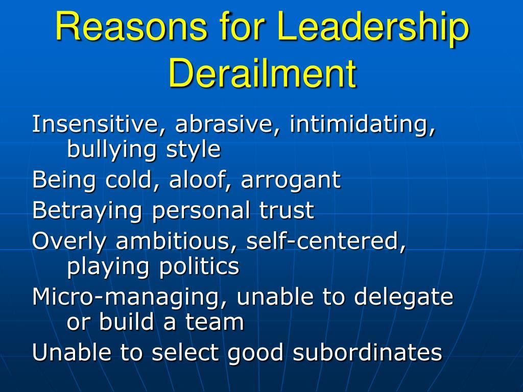 Reasons for Leadership Derailment
