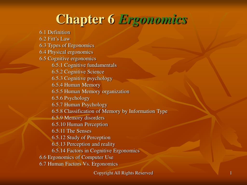 chapter 6 ergonomics l.