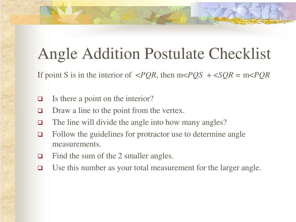 Angle Addition Postulate Checklist