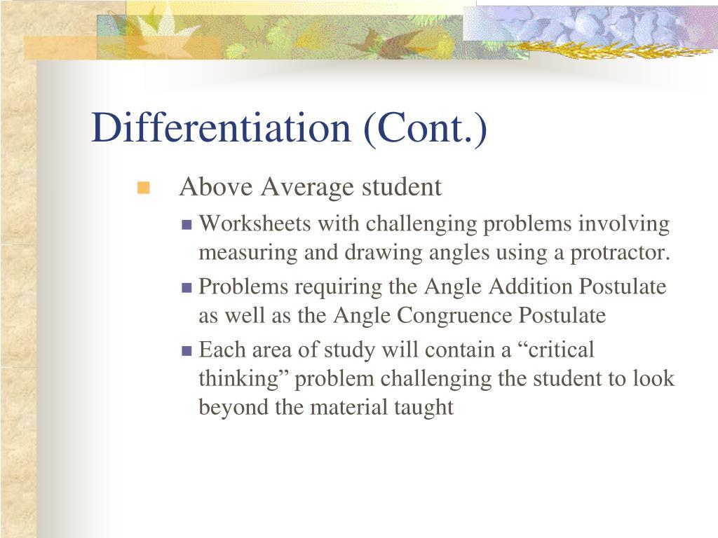 Differentiation (Cont.)