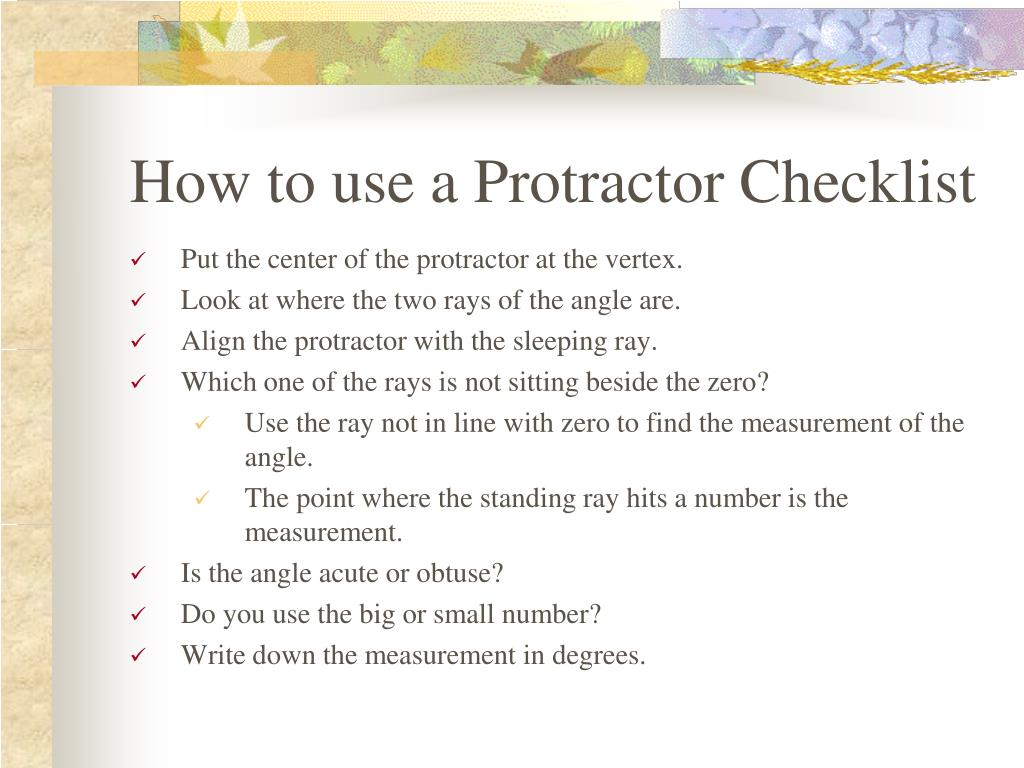 How to use a Protractor Checklist