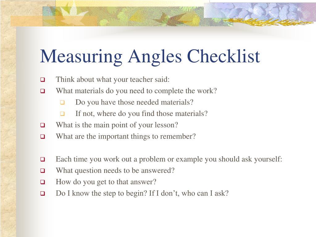 Measuring Angles Checklist