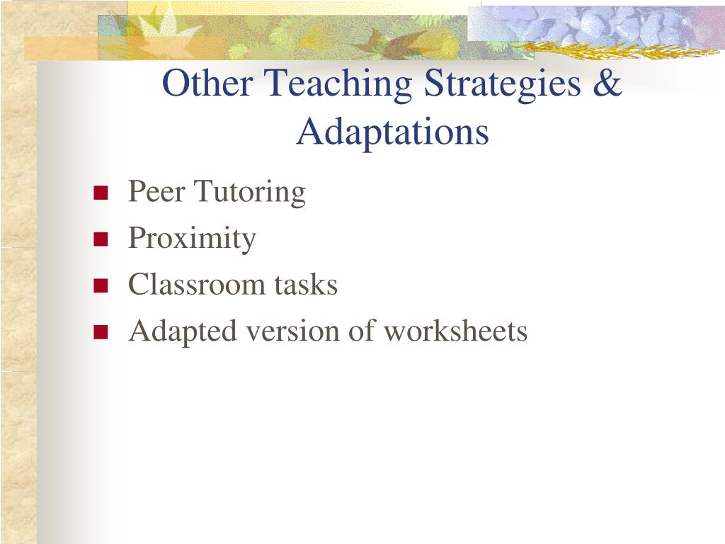 Other Teaching Strategies & Adaptations