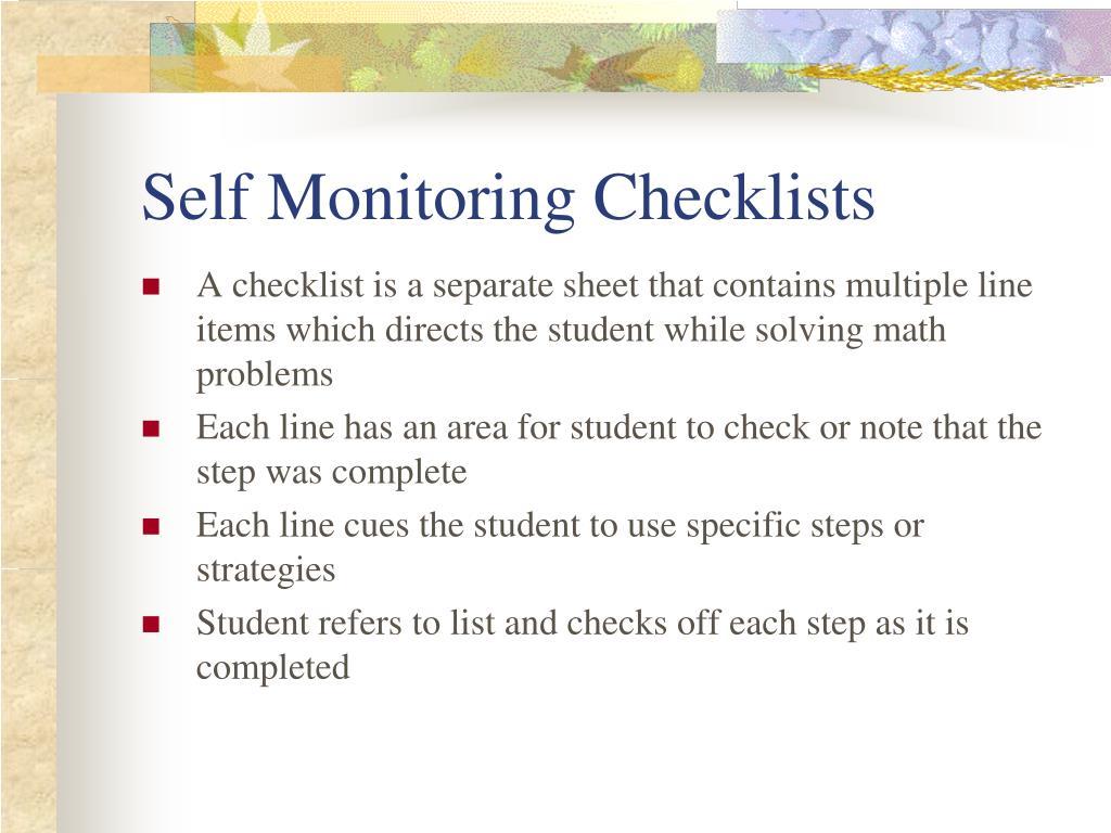 Self Monitoring Checklists