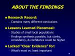 about the findings