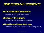 bibliography contents