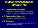 public preparedness correlates