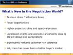 what s new in the negotiation world