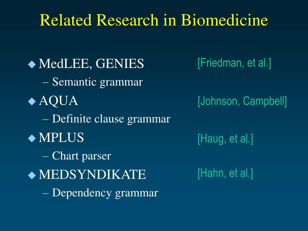 Related Research in Biomedicine