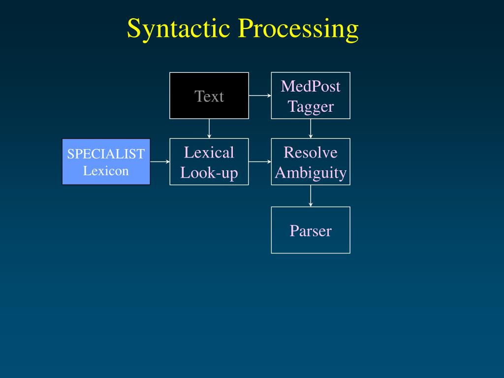 Syntactic Processing