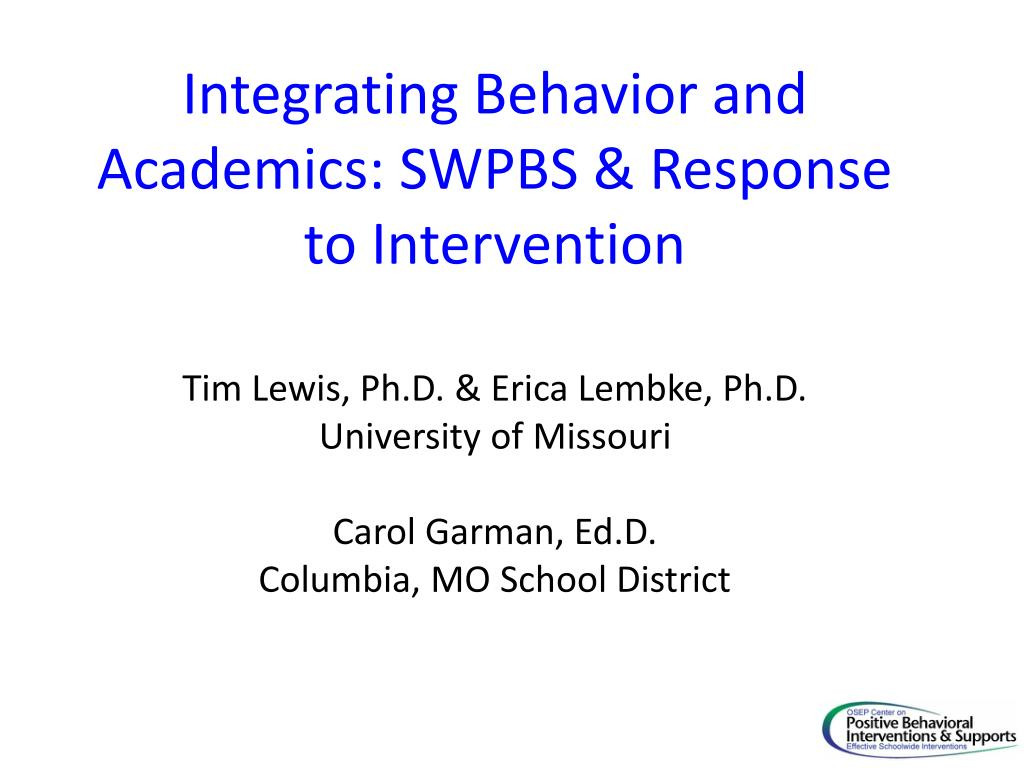 integrating behavior and academics swpbs response to intervention l.