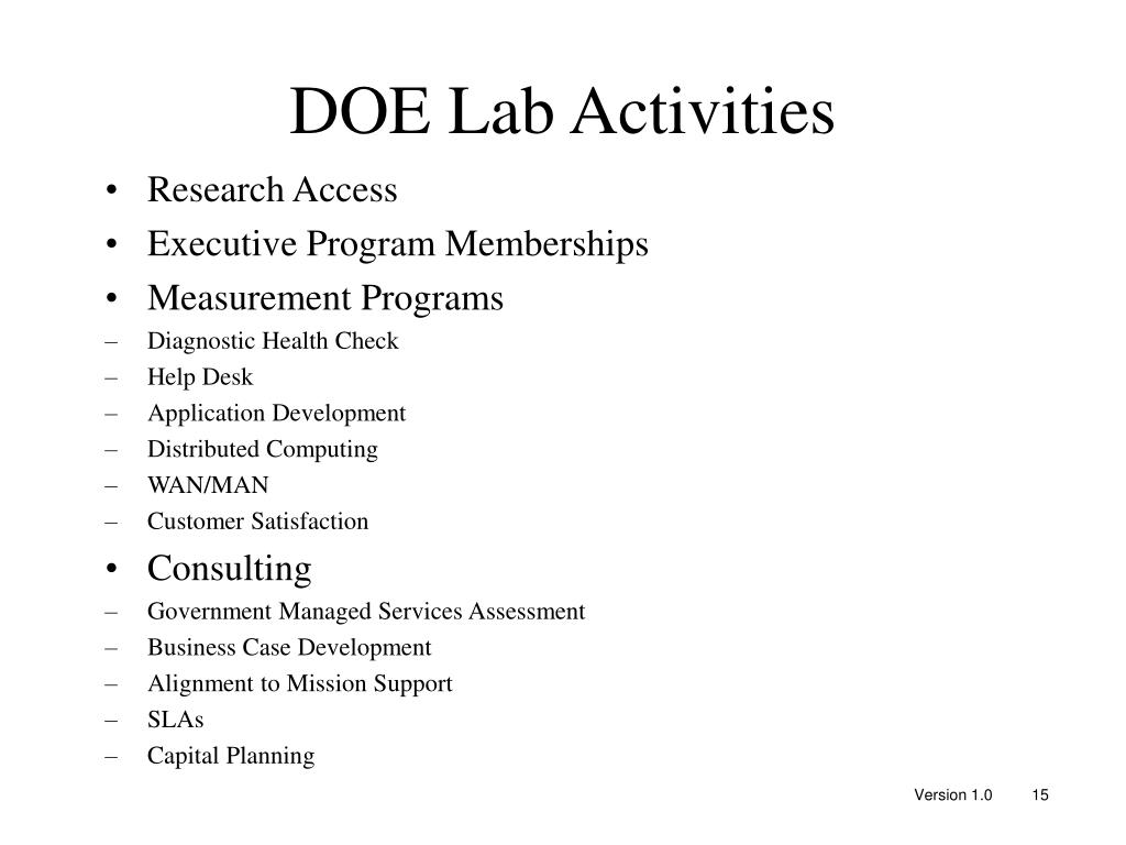 DOE Lab Activities