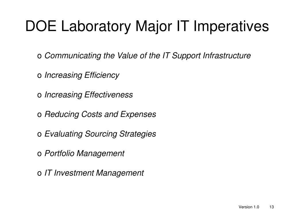 DOE Laboratory Major IT Imperatives