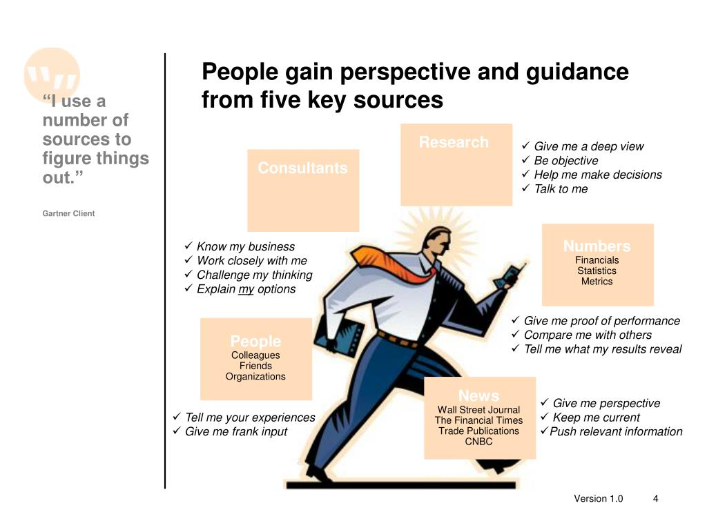 People gain perspective and guidance from five key sources