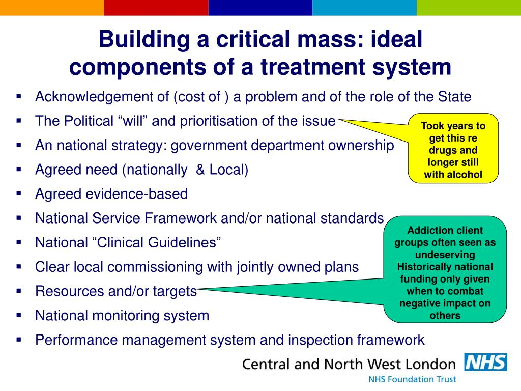 Building a critical mass: ideal components of a treatment system