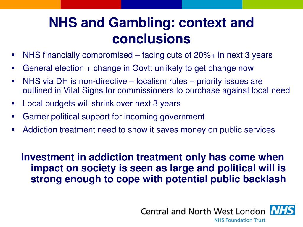 NHS and Gambling: context and conclusions