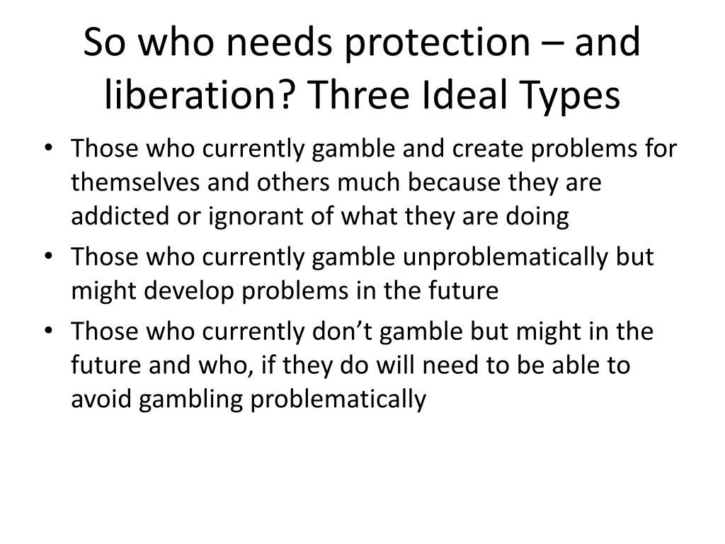 So who needs protection – and liberation? Three Ideal Types