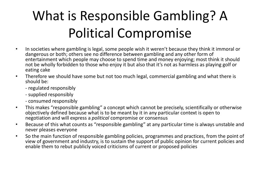 What is Responsible Gambling? A Political Compromise