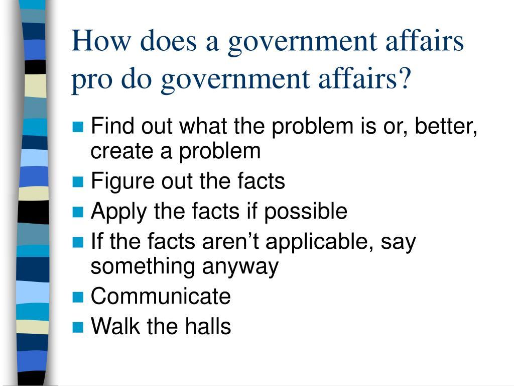 How does a government affairs pro do government affairs?