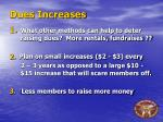 dues increases