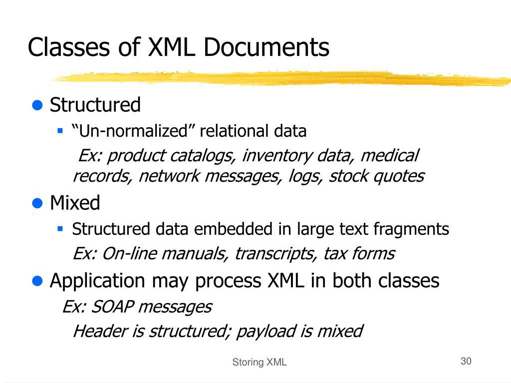 Classes of XML Documents