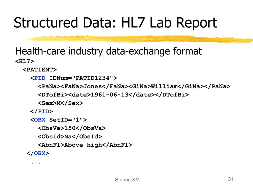 Structured Data: HL7 Lab Report