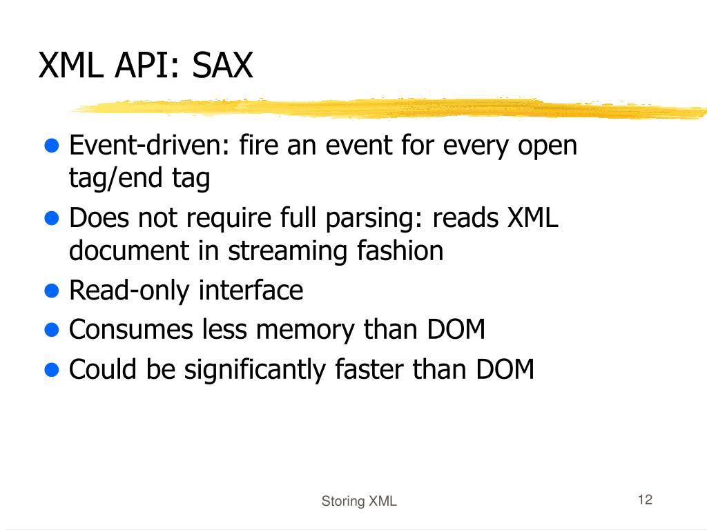 XML API: SAX