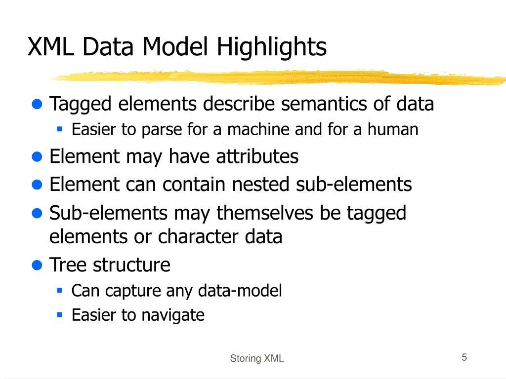 XML Data Model Highlights