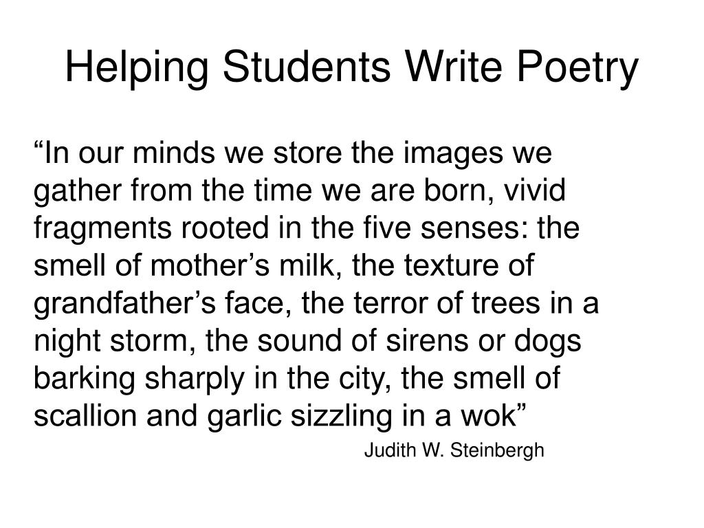 Helping Students Write Poetry