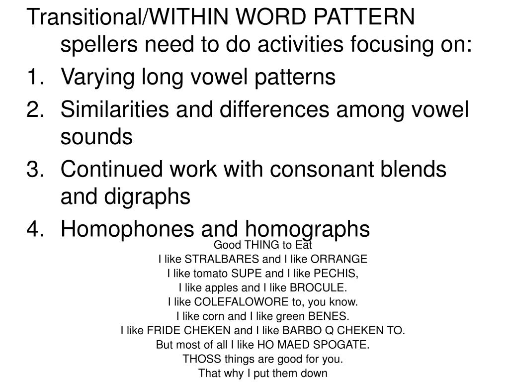 Transitional/WITHIN WORD PATTERN spellers need to do activities focusing on: