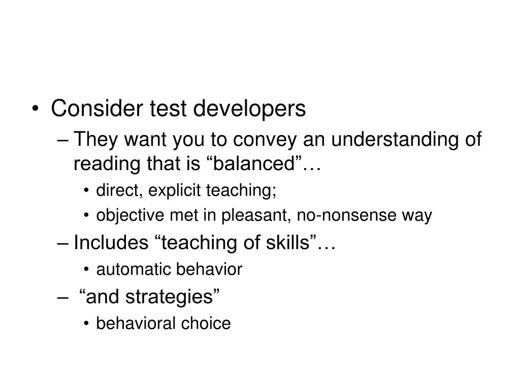 Consider test developers