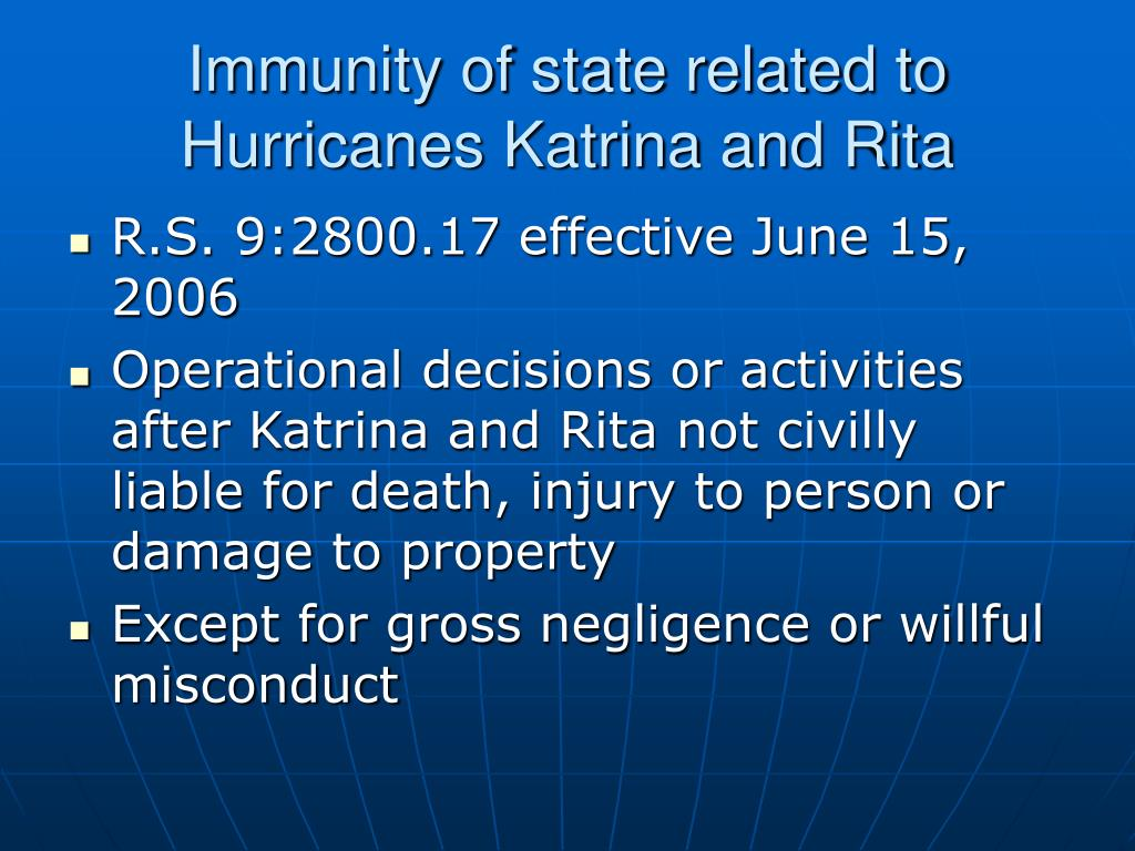 Immunity of state related to Hurricanes Katrina and Rita